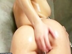 Hot lesbian shower action spreading asses and pussies