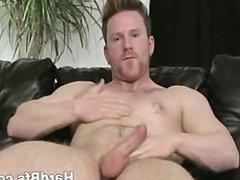 Handsome muscled man strips down and masturbates really hard