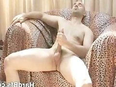 Stunning butt naked guy touching and stroking his cock until he c