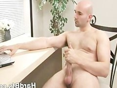 Sexy man touching his massive cock