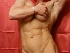 Muscle female posing nude