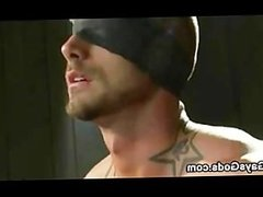 Tied up and blindfolded gay gets his dick vibed