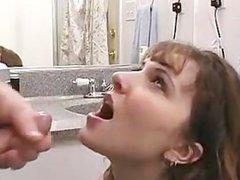 Amateur facial in bathroom