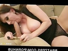 Cheating big-tit brunette MILF slut fucks daughter's bf's big-dick
