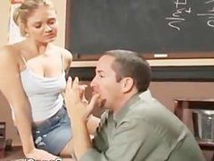 Hot schoolgirl doing a principal's dick
