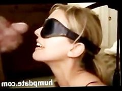 Sexy blindfolded wife gets her face jizzed