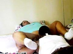 Chubby ebony babe gets her horny pussy licked