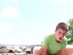 Dirty public twink gets a facial