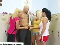 Femdom cfnm group at the gym