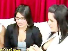 Naughty cfnm hotties use sex toys
