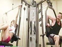 Horny gym babe Bailey Blue seduces her fitness trainor into fucki