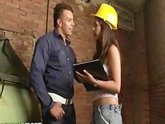 Engineer chick Laura Arce gets her latin shaved pussy fucked hard