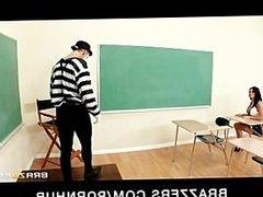 Big-tit brunette schoolgirl teen slut fucks teacher's dick in class