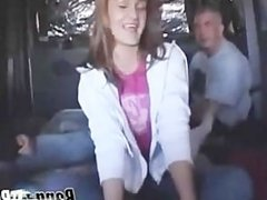 Redhead girl takes it deep in the van