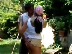 Horny brunette gets a sextoy in her anus