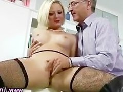 Posh blonde in stockings gets hot