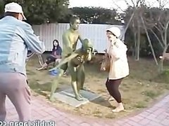 Asian chick is a statue getting some sex part5
