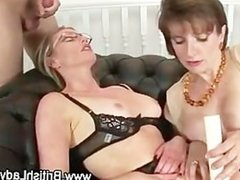Brit wearing spex and stockings gets a facial