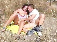 Horny MILF gets fucked hard outdoor part1