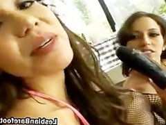 Lesbo slut in fishnet riding a dildo part5