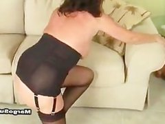 Sexy cougar fucking in heels, stockings and lingerie