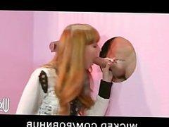 Hot young perky-tit redhead slut sucks & fucks glory-hole big-dick