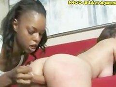 Black Lesbian Uses Dildo On White Girl