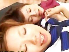 Japanese schoolgirls fuck and cum facial