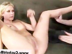 Cuckold licks out slut while she gets fucked