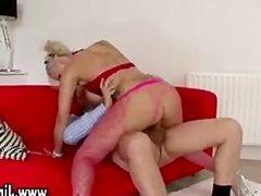 Busty slut in stockings fucks old guy