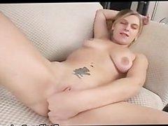 Busty tattooed blond fucking a dildo part2
