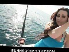 Young big-tit brunette slut teen girlfriend fucks outdoors on boat