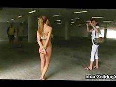 Tied up busty babe blowjob in underpass while strangers watching
