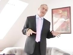 Teen fucks old guy and jerks him off