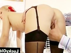 Older guy watches blonde play with butt plug then fucking her