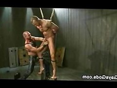 Tied up muscle gay endures electricity and hard ass flogger