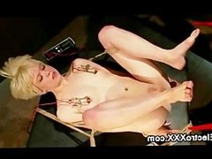 Tied up blonde strapon wired toy fucked by brunette babe