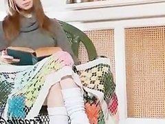 Teenage cutie showing small boobs