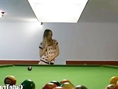 Killer lesbians in shoes on billiards