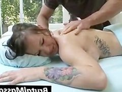 Sexy busty babe gets massaged