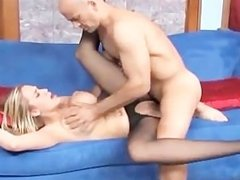 Busty blonde fucking in pantyhose with the crotch ripped out