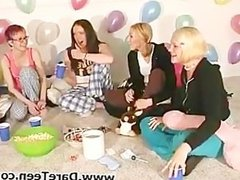 Nasty chicks in pajamas play truth or dare