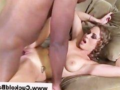 Fetish cuckold licks up babes creampie