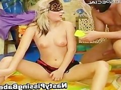 Blond whore blindfolded and sucking cock part3