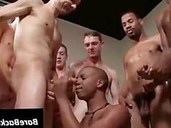 Hot gangbang with black gay facialized