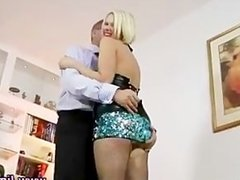 Trashy blonde gets fingered by old guy