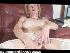 Busty blonde milf fucks herself