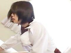 Cute asian schoolgirl slurping the cum part3
