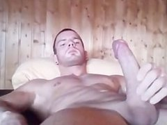 A hot sexy dude jerking his thick juicy cock and cumming