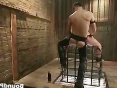 Poor dude caged and whipped gay BDSM part4